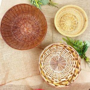 Boho Basket Wall Decor Set of 3 Woven Vintage